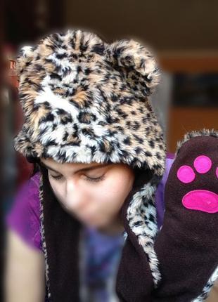 Леопардовая шапка ушанка с лапками меховая флис возможен обмен