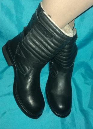 Зимние кожаные ботинки zara р 37,5-38 отлич сост