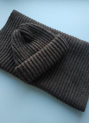 Комплект шапка и снуд 50% шерсть