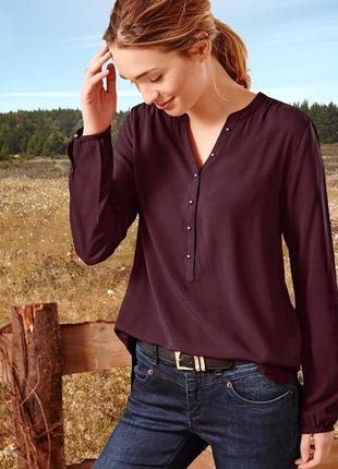 Распродажа легкая однотонная блузка с красивенными пуговками от tchibo - р. 48 укр.