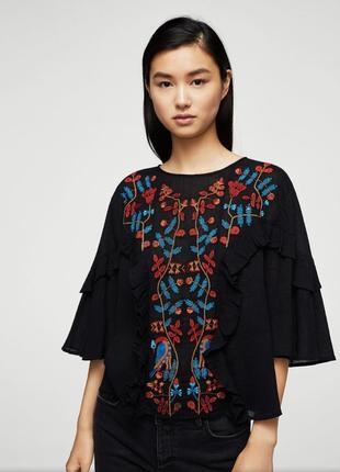 Блуза с вышивкой mango, чёрная, коттон