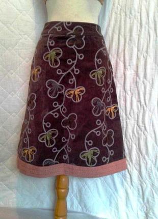 Вельветовая коричневая юбка, s