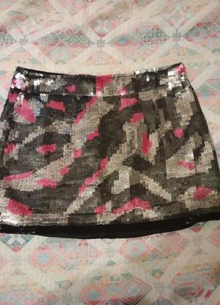 Мини юбка в паетках расшитая бисером