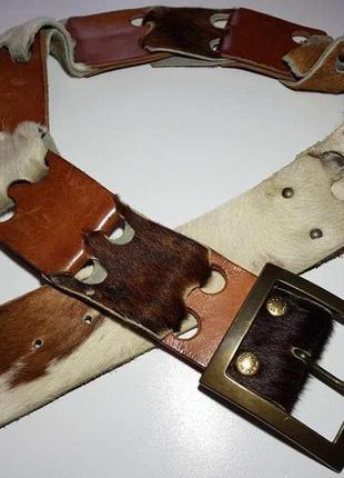 Ремень italy, кожаный + натуральный мех, 104*6 см, сост. отличное!