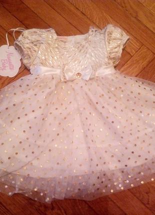 Нарядное платье для малышки на торжество, крестины, для особого случая
