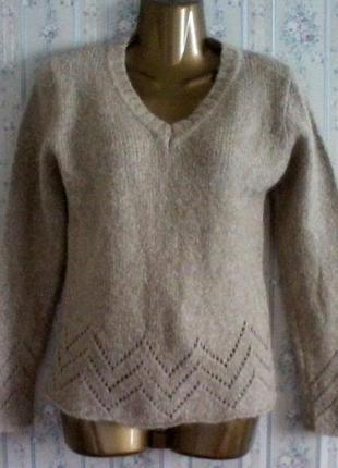 Шерстяной джемпер свитер с ажурным низом, разм. 42-44