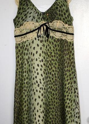 Платье миди из натурального шелка с кружевом