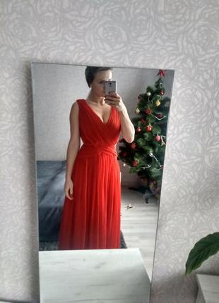 Длиное платья  плаття шифонове красне максі mango