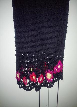 Шикарное вечернее кружевное вязаное платье 👗 миди вискоза