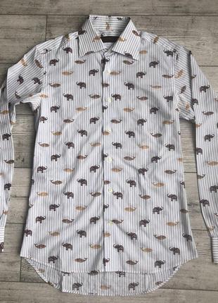 Сорочка\рубашка etro animal print slim fit striped shirt