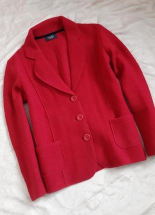 Красный шерстяной жакет свободного кроя от bexleys woman, 100% шерсть