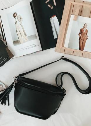 Баранка эко кожа, сумка чёрная, сумка на пояс, трендовая бананка, сумочка