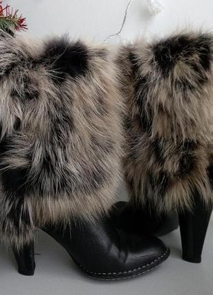 Кожаные сапоги с натуральным мехом