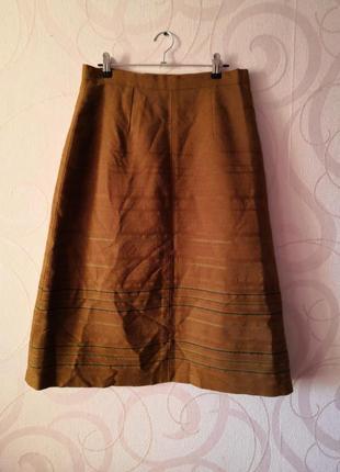 Коричневая юбка, винтаж, шерсть, юбка-миди, теплая юбка, ретро, шерстяная юбка этно стиль