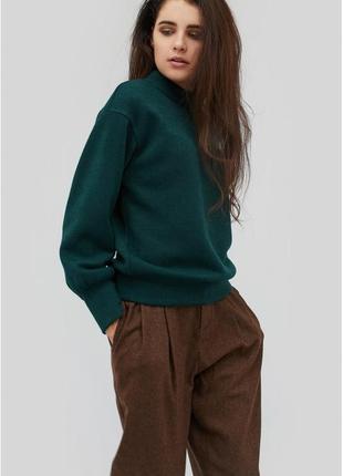 Изумрудный теплый вязаный  зимний свитер свитерок джемпер свитшот кофта светр