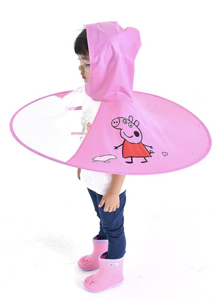 Зонт дождевик плащ для детей от 2 до 6 дет свинка пеппа, детский дождевик круг зонт