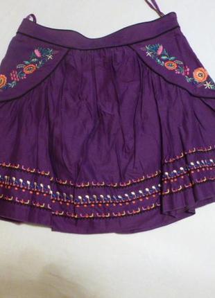Мини юбочка с вышивкой вишиванка эко этно стиль atm мини тренд весны 2019