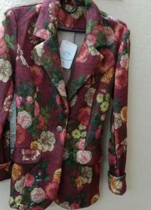 Пиджак трикотаж цветочный принт