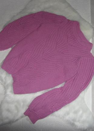 Красивый теплый свитер сиреневый розовый скидка