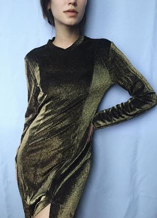 Коктейльное вечернее золотистое платье