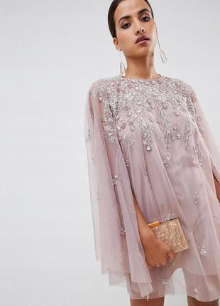 Asos розкішна декорована тюлева сукня в паєтки та бісер 0927a18b40960