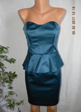 Новое нарядное платье бюстье с баской oasis