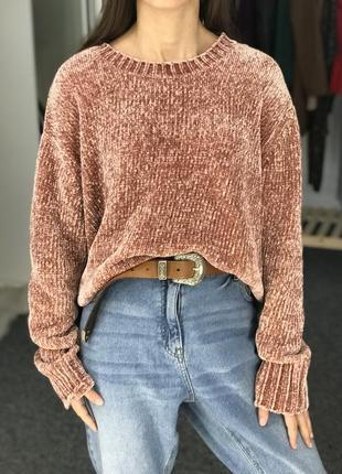 Бархатный оверсайз свитер primark 42