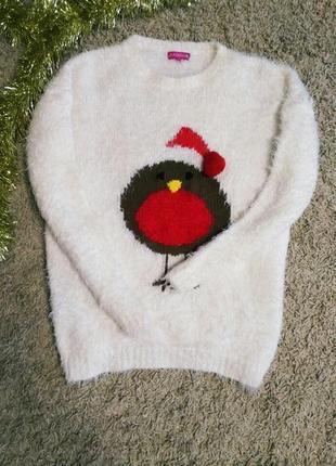 Свитер новогодний, 42-44, xs-s, меховушка, зимний теплый, кофта