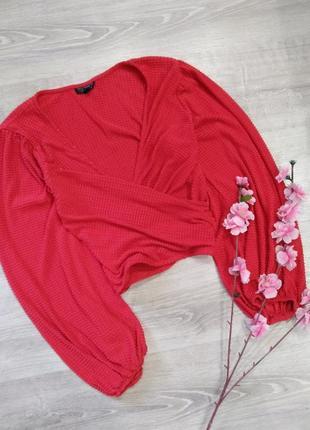 Акция 1+1=3 красивая красная блуза , нарядная кофточка topshop
