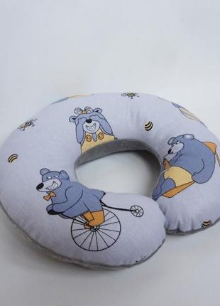 Двухсторонняя подушка для путешествий, на шею, в дорогу из плюша и хлопка - медведи