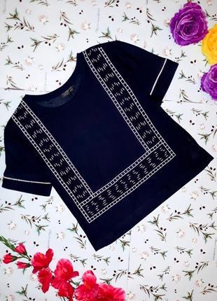 Модная укороченная футболка topshop с вышивкой, размер 42-44