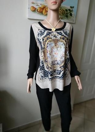 Аутентичная блуза от esqualo с принтом-картина/черная/легкая/м-ка