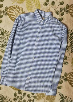 Фирменная рубашка в клетку длинный рукав cotton oxford