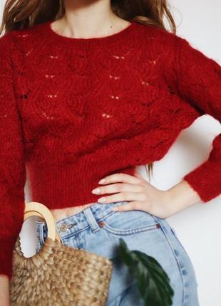 Роскошный красный вязанный шерстяной укороченный свитерок от & other stories