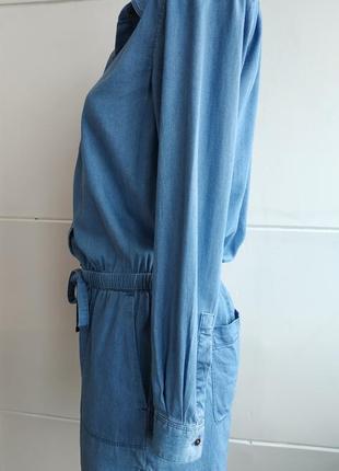 Стильный джинсовый комбинезон loft  из денима с поясом и карманами3 фото