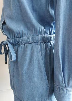 Стильный джинсовый комбинезон loft  из денима с поясом и карманами5 фото