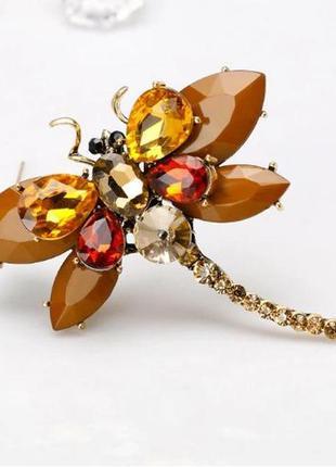 Шикарная брошь стрекоза коричневый с австр.кристаллами