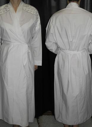 Совсем новый халат длинный 100% cotton кружево узор белый хб