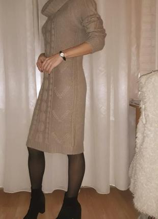 Теплое платье-свитер миди, шерсть