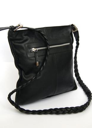 Кожаная сумка через плечо debenhams. ручка плетение