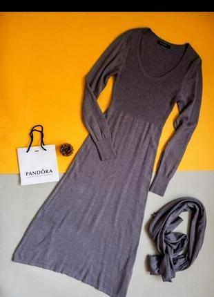 Красивое повседневное шерстяное платье с шалью и кашемиром