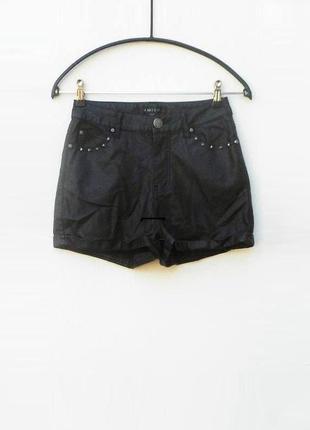 Черные высокие кожаные (экокожа) шорты
