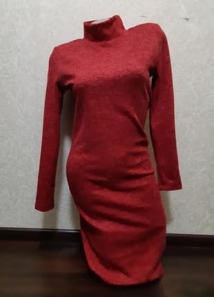 Теплое красное платье ангора софт