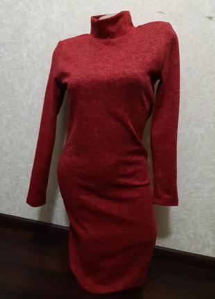 Теплое красное платье ангора софт4 фото