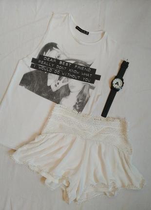 Шорты с кружевом/белые шорты с кружевами