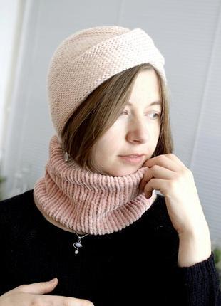 Велюровий теплий міні-снуд світло рожевого відтінку