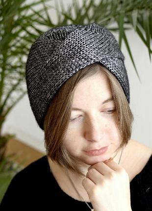 Легка шапочка чалма з блиском, графітного відтінку