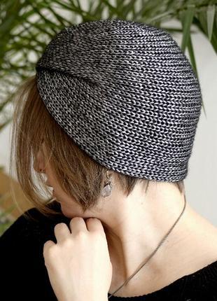 Легка шапочка чалма з блиском, графітного відтінку2