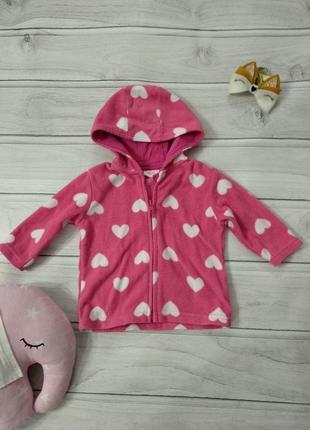 Розовая кофточка флиска в сердечках на 3-6 месяцев