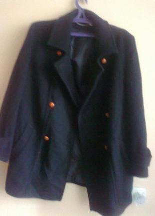 Двубортное шерстяное черное пальто большой размер 100% шерсть,бренд berkertex